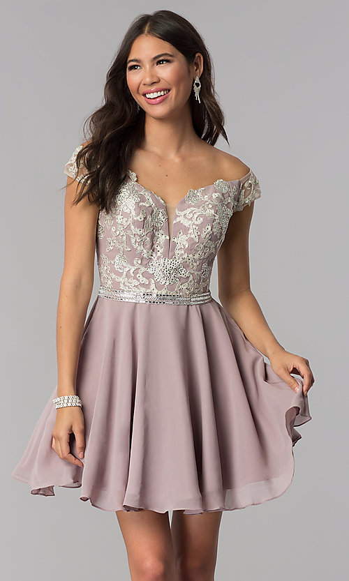 Image of short chiffon off-the-shoulder homecoming party dress. Style: DQ-PL-3053 Front Image