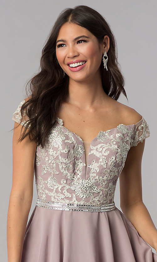 Image of short chiffon off-the-shoulder homecoming party dress. Style: DQ-PL-3053 Detail Image 1