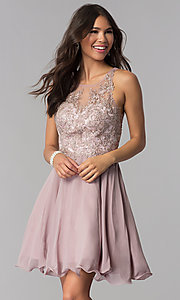 Image of short chiffon embroidered-bodice homecoming dress. Style: DQ-PL-3054 Front Image