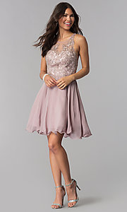 Image of short chiffon embroidered-bodice homecoming dress. Style: DQ-PL-3054 Detail Image 3