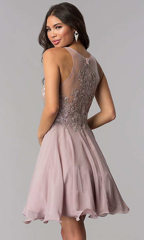 Image of short chiffon embroidered-bodice homecoming dress. Style: DQ-PL-3054 Back Image