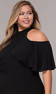 Image of cold-shoulder wide-leg black jumpsuit with ruffles. Style: JU-MA-294997 Detail Image 1