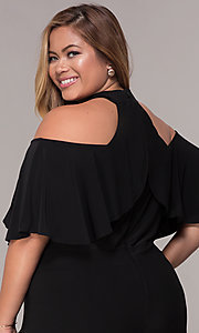 Image of cold-shoulder wide-leg black jumpsuit with ruffles. Style: JU-MA-294997 Detail Image 2
