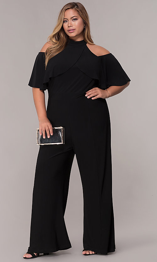 Image of cold-shoulder wide-leg black jumpsuit with ruffles. Style: JU-MA-294997 Front Image