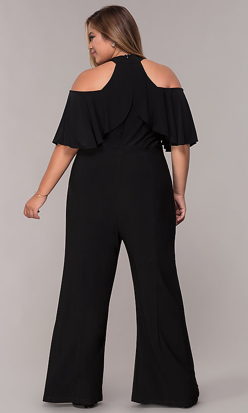 Image of cold-shoulder wide-leg black jumpsuit with ruffles. Style: JU-MA-294997 Back Image