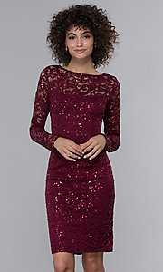 Image of long-sleeve sequin-lace short wine red party dress. Style: JU-MA-262612 Front Image