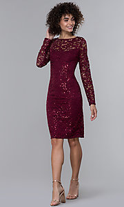Image of long-sleeve sequin-lace short wine red party dress. Style: JU-MA-262612 Detail Image 3