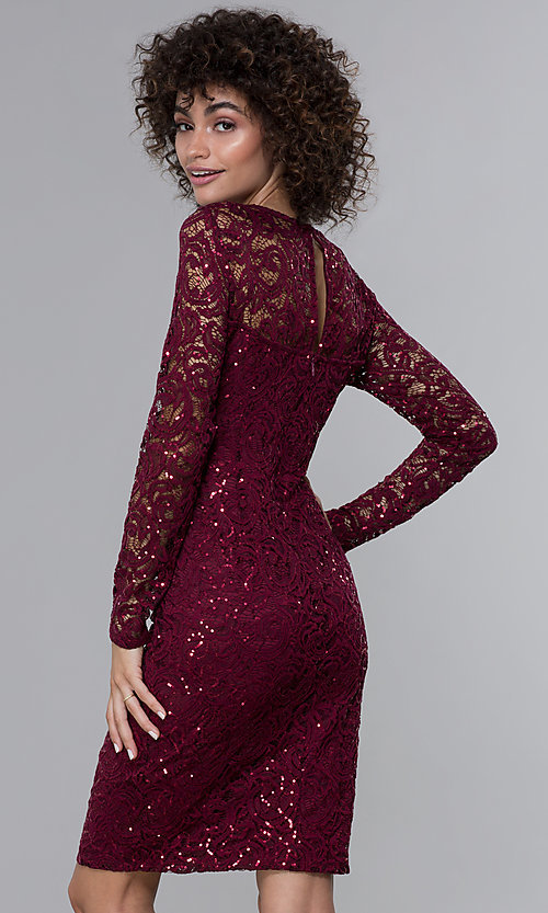 Image of long-sleeve sequin-lace short wine red party dress. Style: JU-MA-262612 Back Image