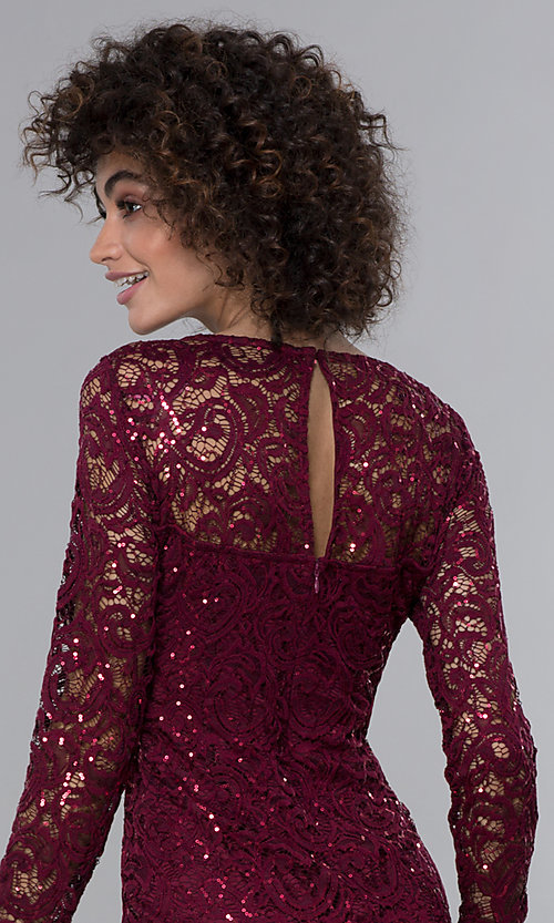 Image of long-sleeve sequin-lace short wine red party dress. Style: JU-MA-262612 Detail Image 2