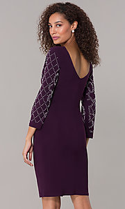 Image of sleeved short wedding-guest party dress in burgundy. Style: JU-MA-261761 Back Image