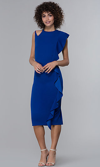 Midi-Length Royal Blue Ruffled Wedding-Guest Dress