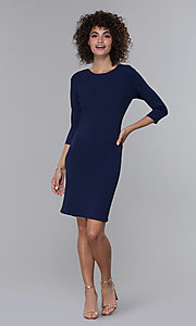 Image of navy blue 3/4-sleeve short wedding-guest party dress. Style: JU-MA-261837 Front Image