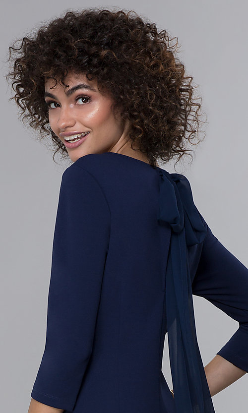 Image of navy blue 3/4-sleeve short wedding-guest party dress. Style: JU-MA-261837 Detail Image 1