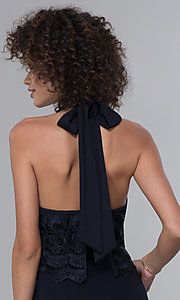Image of wedding guest lace-popover halter navy blue jumpsuit. Style: JU-MA-261315a Detail Image 2