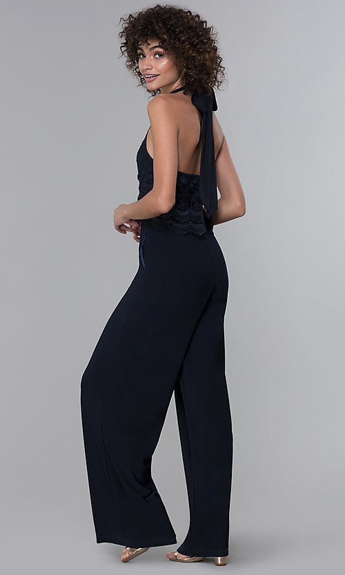 Image of wedding guest lace-popover halter navy blue jumpsuit. Style: JU-MA-261315a Back Image
