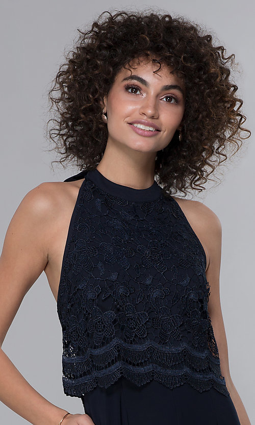 Image of wedding guest lace-popover halter navy blue jumpsuit. Style: JU-MA-261315a Detail Image 1