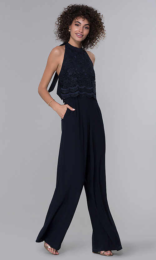 Image of wedding guest lace-popover halter navy blue jumpsuit. Style: JU-MA-261315a Detail Image 3