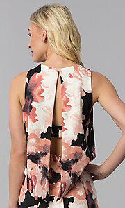 Image of knee-length popover print wedding-guest party dress. Style: JU-MA-261230 Detail Image 2