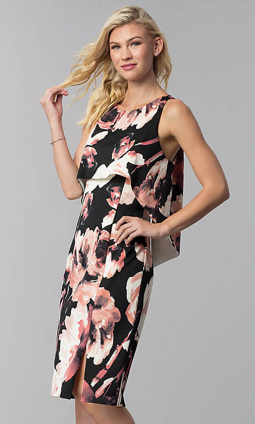 Image of knee-length popover print wedding-guest party dress. Style: JU-MA-261230 Front Image
