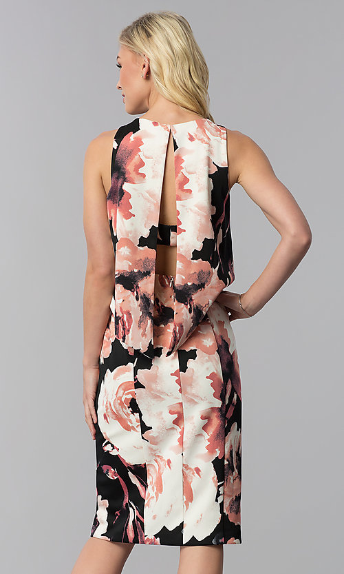 Image of knee-length popover print wedding-guest party dress. Style: JU-MA-261230 Back Image