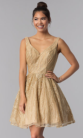 Sequin Embroidered-Mesh Short Gold Homecoming Dress