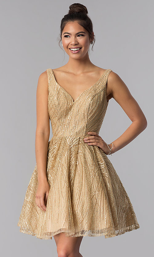 dfb824eb2a Image of sequin embroidered-mesh short gold homecoming dress. Style  TE-3044