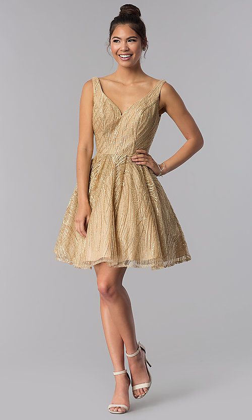 Image of sequin embroidered-mesh short gold homecoming dress. Style: TE-3044 Detail Image 3