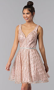 Image of short a-line homecoming dress with glitter print. Style: TE-3022 Front Image