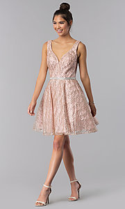 Image of short a-line homecoming dress with glitter print. Style: TE-3022 Detail Image 3