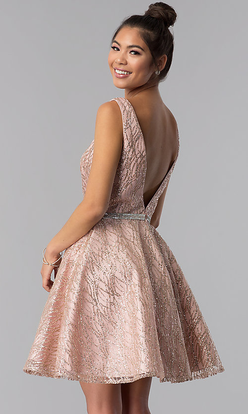 Image of short a-line homecoming dress with glitter print. Style: TE-3022 Back Image