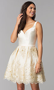 Image of v-neck short a-line ivory homecoming party dress. Style: TE-3054 Front Image