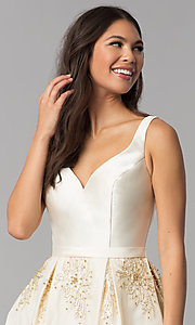 Image of v-neck short a-line ivory homecoming party dress. Style: TE-3054 Detail Image 1