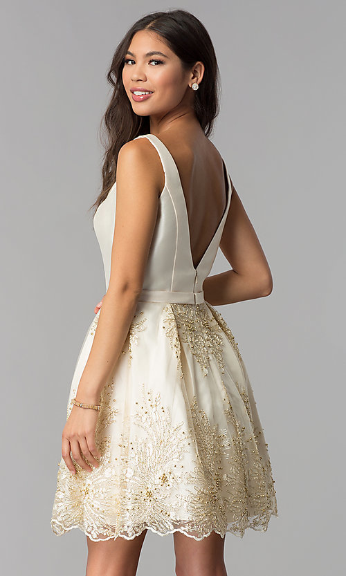 Image of v-neck short a-line ivory homecoming party dress. Style: TE-3054 Back Image