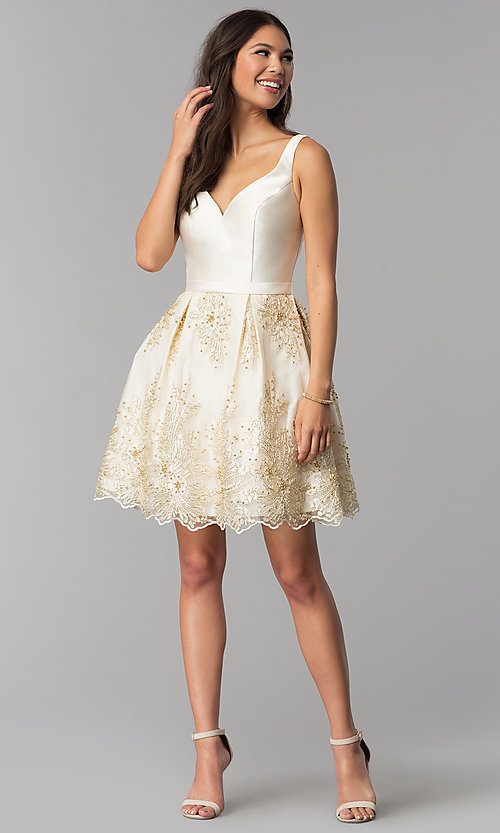 Image of v-neck short a-line ivory homecoming party dress. Style: TE-3054 Detail Image 2