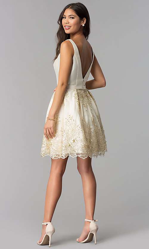 Image of v-neck short a-line ivory homecoming party dress. Style: TE-3054 Detail Image 3