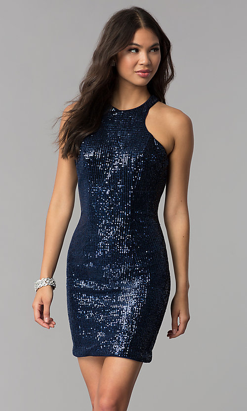 819abd3486f Image of short sequin fitted navy blue homecoming dress. Style  TE-3038  Front