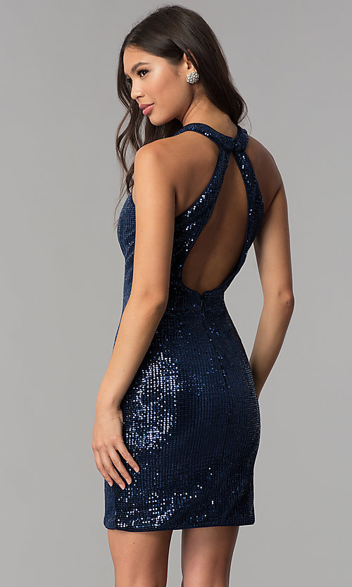 34e9527dc62 Image of short sequin fitted navy blue homecoming dress. Style  TE-3038 Back