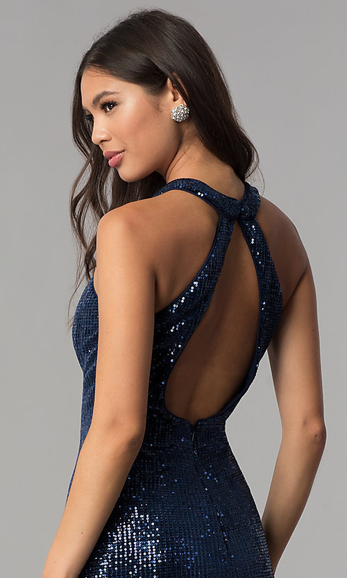 Image of short sequin fitted navy blue homecoming dress. Style: TE-3038 Detail Image 2