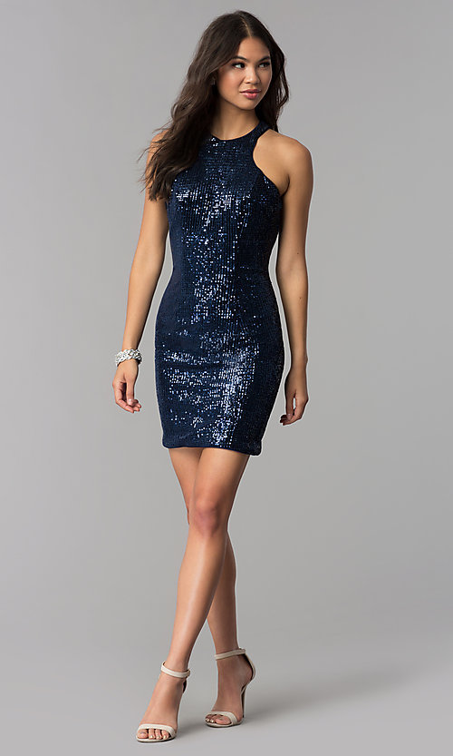 eb2a0d0aaa8 Image of short sequin fitted navy blue homecoming dress. Style  TE-3038  Detail