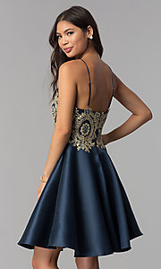 Image of embroidered-bodice short navy blue homecoming dress. Style: TE-3094 Back Image