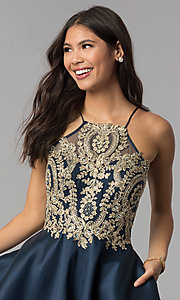 Image of embroidered-bodice short navy blue homecoming dress. Style: TE-3094 Detail Image 1