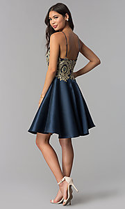Image of embroidered-bodice short navy blue homecoming dress. Style: TE-3094 Detail Image 3