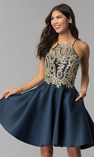 ff72f3ad73049 Embroidered-Bodice Short Navy Blue Homecoming Dress