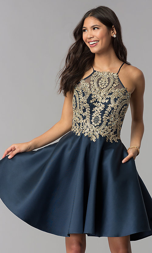Image of embroidered-bodice short navy blue homecoming dress. Style: TE-3094 Front Image