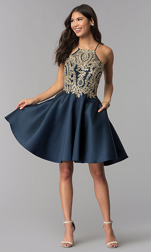Image of embroidered-bodice short navy blue homecoming dress. Style: TE-3094 Detail Image 2