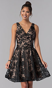 Image of floral-print v-neck short black homecoming dress. Style: TE-3011 Front Image