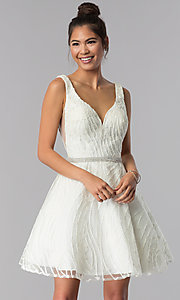 Image of short ivory white embroidered homecoming dress. Style: TE-3086 Front Image