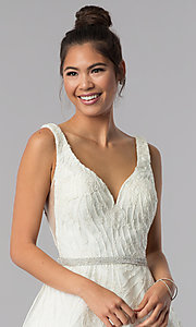 Image of short ivory white embroidered homecoming dress. Style: TE-3086 Detail Image 1