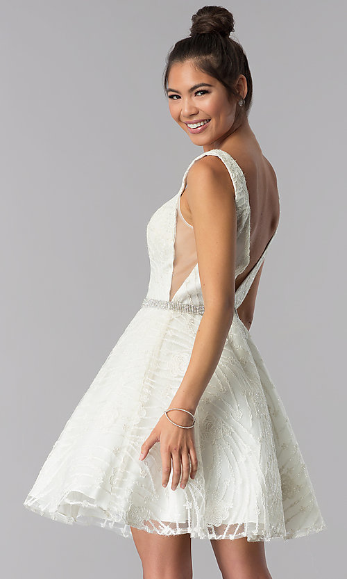 Image of short ivory white embroidered homecoming dress. Style: TE-3086 Back Image