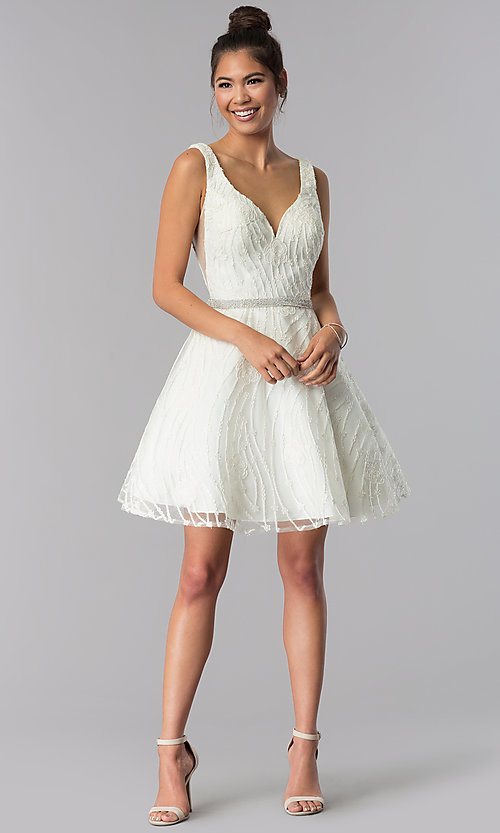 Image of short ivory white embroidered homecoming dress. Style: TE-3086 Detail Image 2